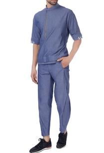 blue-high-collar-cotton-shirt