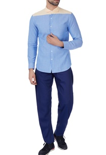 blue-color-block-formal-shirt