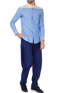 blue-pleated-style-cotton-trousers