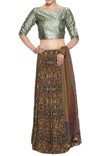 brown-printed-lehenga-silk-blouse