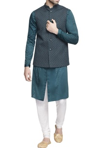 teal-green-nehru-jacket-with-kurta