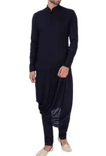 black-draped-zipper-style-kurta