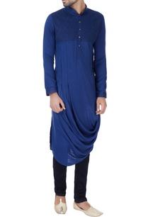blue-draped-style-silk-kurta
