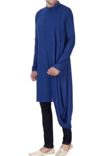 blue-one-sided-draped-kurta