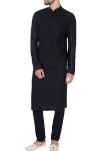black-embroidered-cotton-silk-kurta