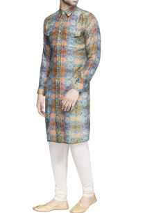 blue-cotton-silk-printed-kurta