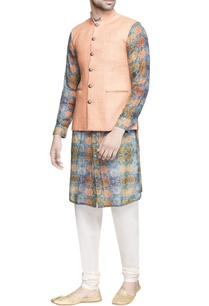 light-orange-matka-silk-jacket