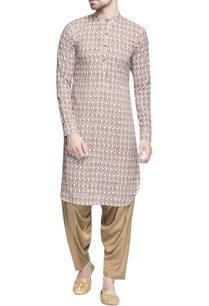 white-lotus-printed-kurta