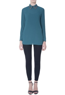 teal-blue-bib-collar-blouse