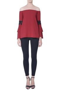 red-off-shoulder-blouse