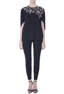 black-embellished-cape-blouse