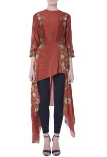rust-brown-asymmetric-style-blouse
