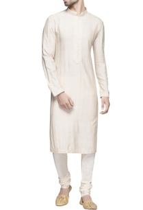 white-spun-silk-long-kurta-set