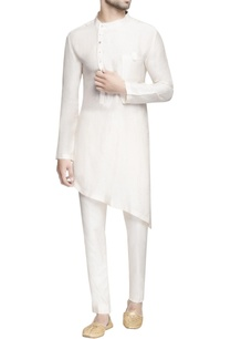 white-asymmetric-short-kurta