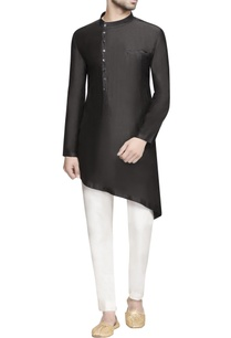 black-asymmetric-silk-kurta