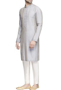 grey-textured-silk-kurta