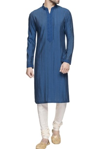teal-blue-spun-silk-kurta