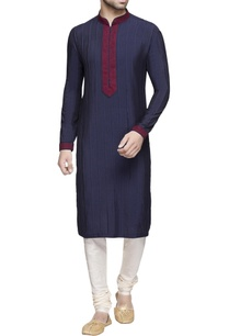 navy-blue-embroidered-kurta