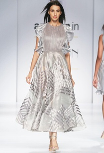 silver-midi-dress-with-ruffle-sleeves