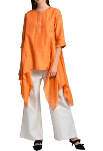 orange-kurta-with-pleated-back