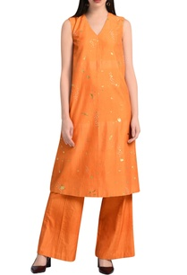 orange-a-line-embroidered-kurta