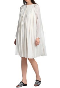 white-gathered-yoke-dress