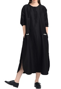 black-drop-waist-long-kurta