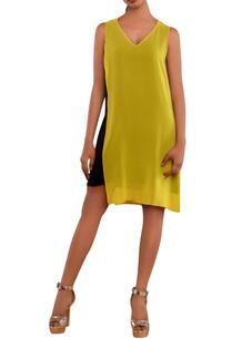 black-yellow-v-neck-dress