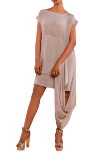 beige-dress-with-attached-drape