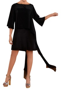 black-dress-with-draped-panel