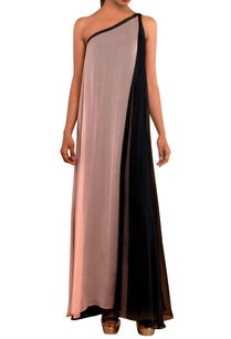 peach-black-one-shoulder-gown