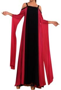 pink-black-cold-shoulder-gown