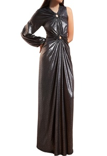 metallic-grey-one-shoulder-gown