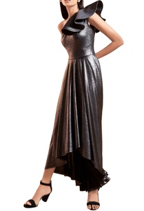 metallic-grey-black-one-shoulder-gown