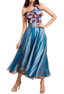 blue-grey-organza-pleated-skirt