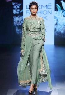green-front-open-kurta-with-pants-dupatta