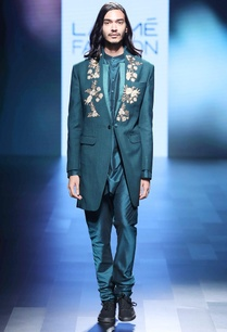 teal-blue-matka-silk-jacket