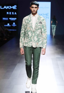 green-floral-silk-jacket