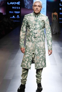 green-floral-silk-sherwani