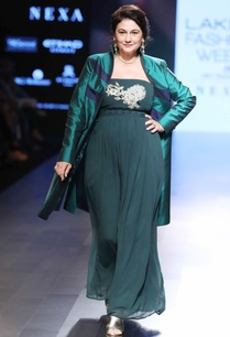 green-tube-gown-silk-jacket