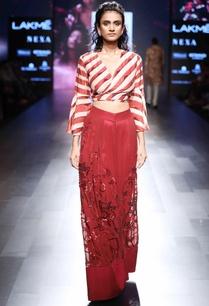red-overlap-crop-blouse-pants