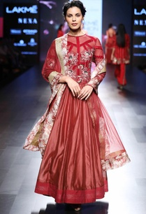 red-anarkali-with-velvet-stripes