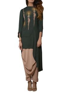 green-tunic-with-dhoti-pants