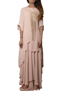 pink-maxi-layered-dress-with-ruffled-sleeve