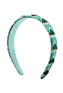 green-printed-satin-hairband
