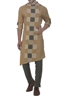 beige-green-kurta-with-check-panel