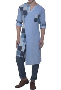 blue-check-panel-kurta