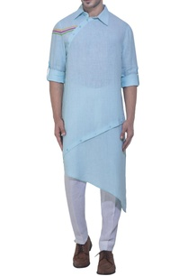 aqua-blue-multicolored-stripe-kurta