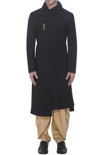 black-achkan-kurta-in-cowl-neckline