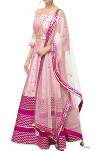 pink-dupion-silk-off-shoulder-blouse-with-raw-silk-lehenga-net-dupatta